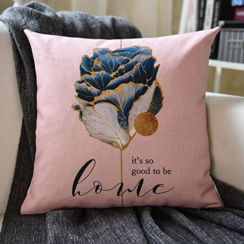 CML Fundas de cojín impresas para sofá, tela de lino, cojín para coche, mesita de noche, oficina, lumbar, funda de almohada sin base de almohada (color marrón, tamaño: 45 x 45 cm)