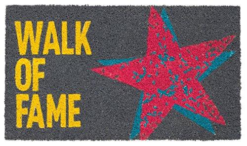 Bavaria Home Style Collection Paillasson paillasson/Tapis/paillasson/passwort/Paillasson/Tapis Coco/Coco/Tapis Anti-Poussière modèle Walk of Fame – Gris – Étoile – Taille : 40 x 60 cm