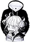 Silver Basic Sudadera con Capucha de Manga Larga para Hombre 3D My Hero Academia Merchandise Million Ochaco Uraraka Bakugou Katsuki All Might Cosplay Disfraz S,001Disfraz de Himiko Toga-4