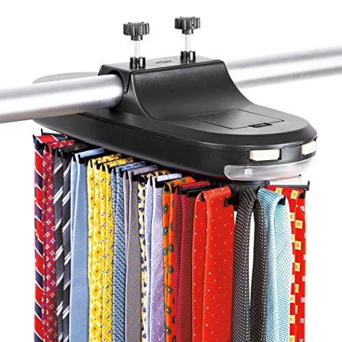 Motorized Tie Rack - Holds 64 Ties and 8 Belts with LED Light, Automatic & Battery Operated Power - Revolving Closet Organizer & Neck Tie Storage Caddy Display for Men's Accessories