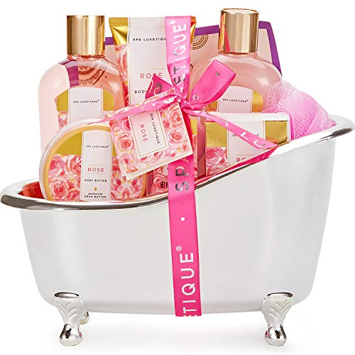 Bath Sets for Women, Spa Luxetique Gift Baskets for Women, Valentines Day Gifts, 8 Pcs Relaxing Spa Kit Includes Bath Bombs, Bath Salts, Bubble Bath, Best Gift Set for Women Birthday.