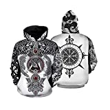 Viking Tattoo Hoodie Unisex 3D Odin Symbol Viking Pagan Norse Mythology Nordic Sign Sudadera con...