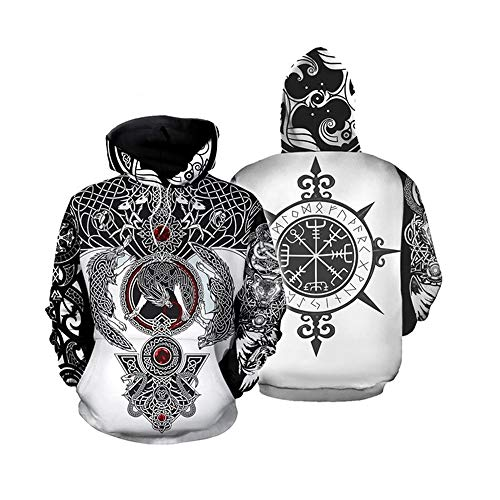 Naixin Männer Hoodies Viking Tattoo 3D Gedruckter Hoodie Streetwear Lässige Wikinger Valknut Vegvisir Norse Sweatshirt