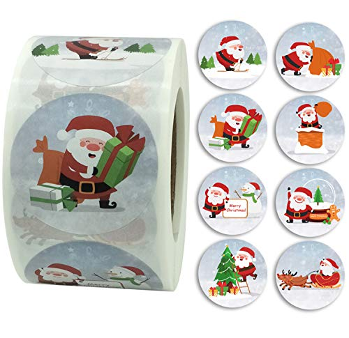 Merry Christmas Stickers, Santa Stickers, 1.5 Inch Round Christmas Decorating Label Stickers, 500 Santa Claus Adhesive Xmas Decorative Seals Stickers for Greeting Cards, Gift Bags, Boxes