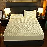 BAJIN Protector de colchón de protección contra ácaros para girar, protector de colchón, cama con somier, sábana bajera ajustable de microfibra cepillada, 135 x 190 cm+25