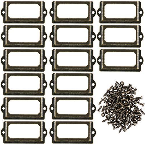 Kyrio 50Pcs Titulares de etiquetas de metal Cajón de muebles Gabinete Titular de la tarjeta Placa de identificación Placa de etiqueta Marcos con tornillos