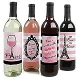Paris, Ooh La La – Paris Motto Babyparty oder Geburtstag Party Dekorationen für Frauen und Männer – Weinflaschen-Aufkleber – Set von 4
