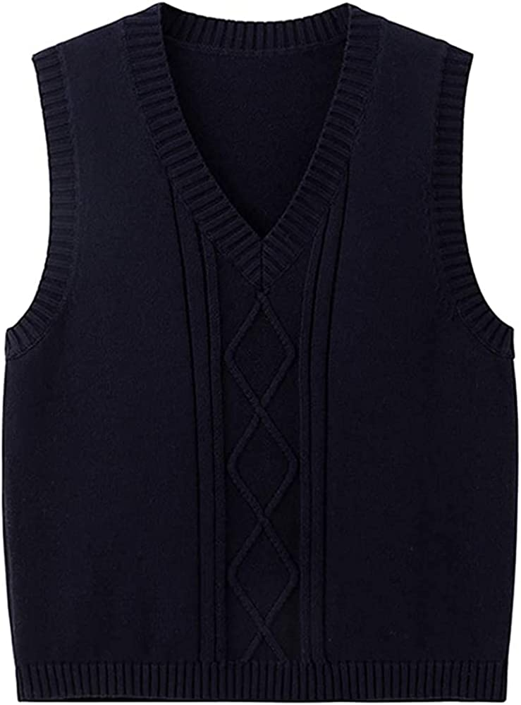Partvece Women Big Kids Big Girls V Neck Solid Color Cable Knit Sleeveless Vest Pullover Knitwear Tank Top School Uniforms