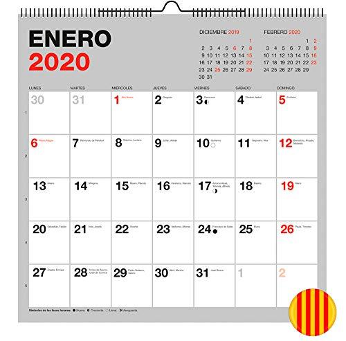 Miquelrius 28334 - Calendario de Pared 300 x 300 mm para escribir Gris 2020 Básico Catalán