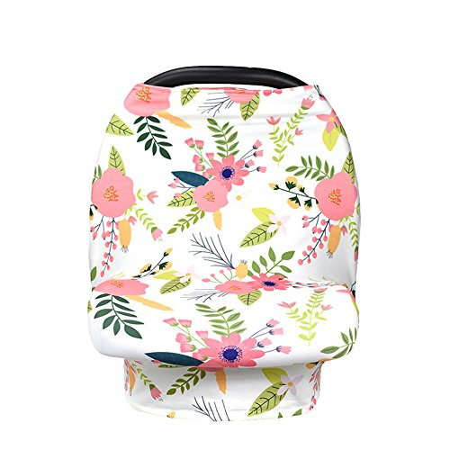 Alician Nursing Baby Car Seat Canopy Shopping Cart Stroller Cover Scarf for Girls and Boys Bougainvillea One size