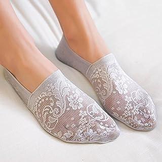 YideaHome レディース 靴下 浅履きタイプ 滑り止め付き 透明なレースソックス 爽やかな靴下 かわいいデザイン 夏用