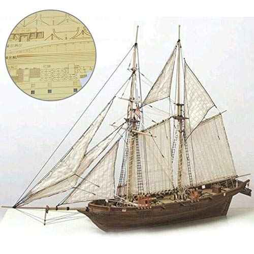 Okssud Segelboot Modell, Holzschiff Modelle DIY Schiffsmodell Kit, Dekoration Modellbausatz Holz Schiff Bausatz Flaggschiff Holzmodell Spielzeug für Kinder