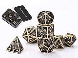 KEKAFU DND Polyhedral Dados Set, 7 Metal D&D Dados, Dungeons and Dragons con Dados Metal Box, Cobre Hueco, para Juegos de rol Mazmorras y Dragones, Enseñanza de Matemáticas (Ancient Bronze)