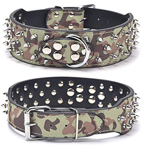 Heavy Duty Dog Collar, Adjustable Studded Dogs Collars with Spikes, 3 Rows Bullet Rivets Studded PU Leather Pet Collar Fit Medium and Large Dogs, 2' Width, CAMO L