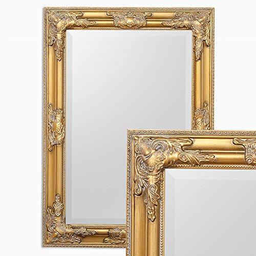 LEBENSwohnART Wandspiegel BESSA Gold antik 70x50cm barock pompös Spiegel Design Holzrahmen