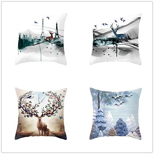 Set of 4 Pcs Throw Pillow Case Cushion Covers Deer Velvet Soft Superfine Fiber Square Decorative Throw Pillowcases for Living Room Sofa Bedroom Car with Concealed Zip E748 55x55cm/21.5x21.5in