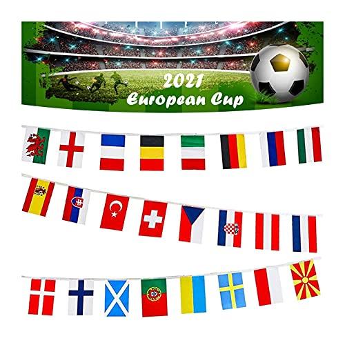 Nationalflaggen für Europameisterschaft, Weltmeisterschaftsflaggen, Euro-Fußball-Flaggen, Schnurfahne, alle 24 teilnehmenden Teams, Flagge, Wimpelkette für Garten, Bar, Restaurant, Party-Dekoration