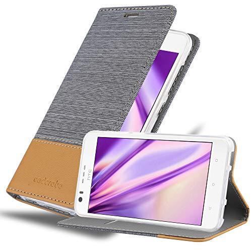 Cadorabo Hülle für HTC Desire 10 Lifestyle/Desire 825 in HELL GRAU BRAUN - Handyhülle mit Magnetverschluss, Standfunktion & Kartenfach - Hülle Cover Schutzhülle Etui Tasche Book Klapp Style