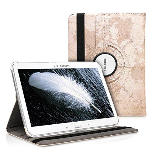 kwmobile Cover Compatibile con Samsung Galaxy Tab 3 10.1 P5200/P5210 - Custodia per Tablet Rotazione 360° Stand Similpelle - Mappamondo Vintage Marrone/Marrone Chiaro