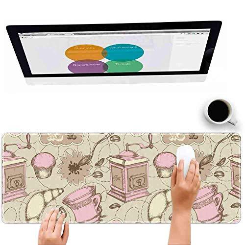 Mauspad Großes Mousepad für Spielkarikatur Abstraktes modernes Bild von Teekannen Tassen Kuchen Croissants Bäckerei Bild Grau Hellrosa und Weiß Big Rubber Cloth Mat