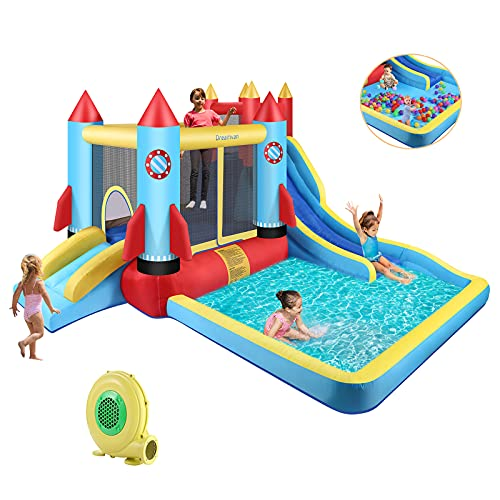DREAMVAN Kids Bounce House with Blower Inflatable Bounce Houses Double Slide Climbing Wall and Ball Pit/Pool Splash Big Bouncy House Bouncing Rocket Jumping Castle Outdoor/Indoor, Ages 3-12 Years