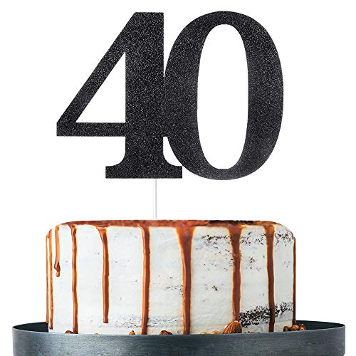 Black Glitter Number 40 Cake Topper - for 40th Birthday/Wedding Anniversary Party Decoration