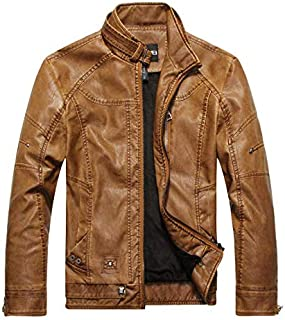 Casual Men's PU leather collar collar jacket leather jacket XXL