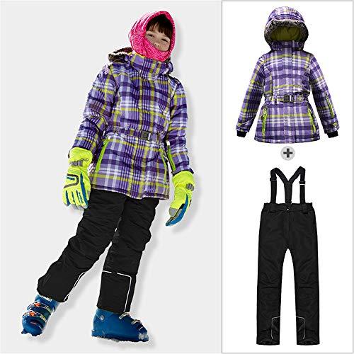 Kinderen Ski Suit, Meisjes Ski Bibs en Ski Jas Winter Hooded Waterdichte Ski Suit Sneeuwpak