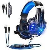 Auriculares para juegos para PlayStation 5 Digital Edition / Ultra HD Game Console, Micrófono profesional para Mac PS5 Smartphone con cancelación de ruido de sonido envolvente LED Licht de 3,5mm,Azul