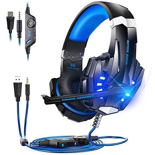 Auriculares para juegos para PlayStation 5 Digital Edition / Ultra HD Console con sonido envolvente, Auriculares PS5 con cancelación de ruido, controles de volumen y silencio en la oreja, luz LED,Azul