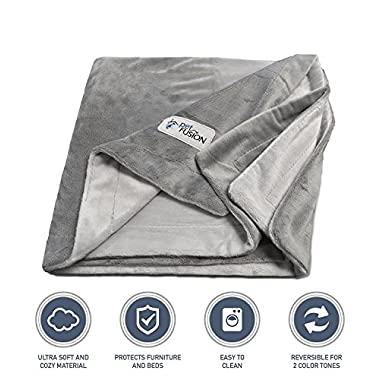 PetFusion Premium Medium Dog Blanket (44x34 ). Reversible Gray Micro Plush. [100% soft polyester]