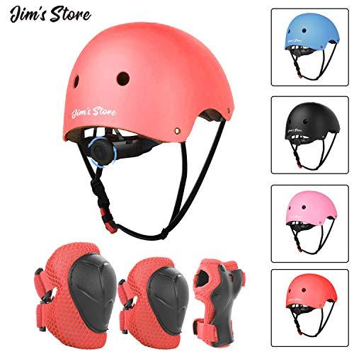 JIM'S STORE Helm Set für Kinder Knieschoner Ellenbogenschoner Handschutz Verstellbarer Helm Schonerset für Inliner Skateboard Roller Radfahren Outdoor Sport Schutzausrüstung Protektoren Schützer