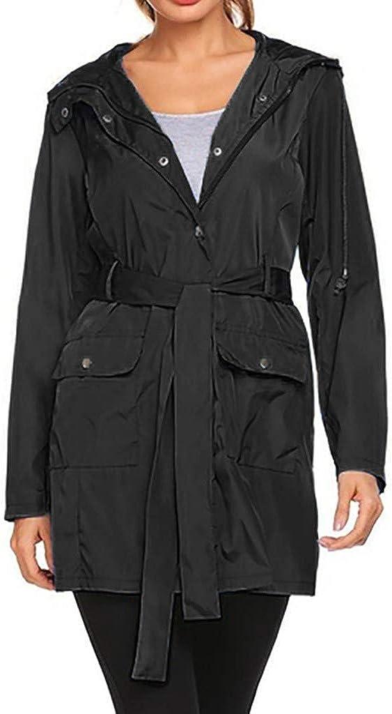 Women's Waterproof Buckle Hoodie Overcoat w/ Pockets Belt Plus Size Windproof Hooded Rain Jacket Outdoor Raincoat