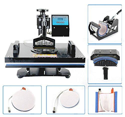 Mabelstar 6-in-1 Multifunktionale Wärmeübertragungspresse 110 V/220 V 1350 W drehbar 30 x 38 cm T-Shirt-Markiermaschine