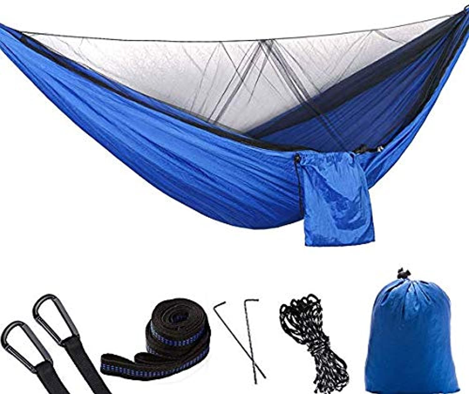 Double Camping Hammock with Mosquito Net,Lightweight Nylon Parachute Portable Hammock for Indoor, Camping, Hiking, Backpacking, Backyard