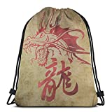 NPNP Mochilas con cordón Mochila Mochila de dragón japonés Bolsa para Almacenamiento de Viaje Organizador de Zapatos Bolsas de Regalo de Baloncesto Adultos