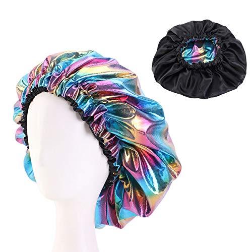 Ruiqas Bonnet de Nuit en Satin Doux Bonnets de Nuit Bonnet Réversible Bonnet Réversible Tête de Couchage Bonnet de Bain avec Cordon Élastique pour Femme Fille (Bleu Ciel)