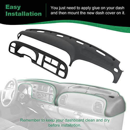 SCITOO Dash Cover & Instrument Panel Cover Combo Kit Fits for 98-02 Dodge Ram 1500 2500 3500 Molded Black Overlay