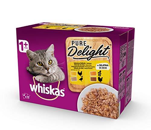 Whiskas Pure Delight in Gelatina Selezione Delicata, 1+ Anni, 12 x 85 g, Cibo per Gatto, 4 Confezioni (48 Bustine in Totale)