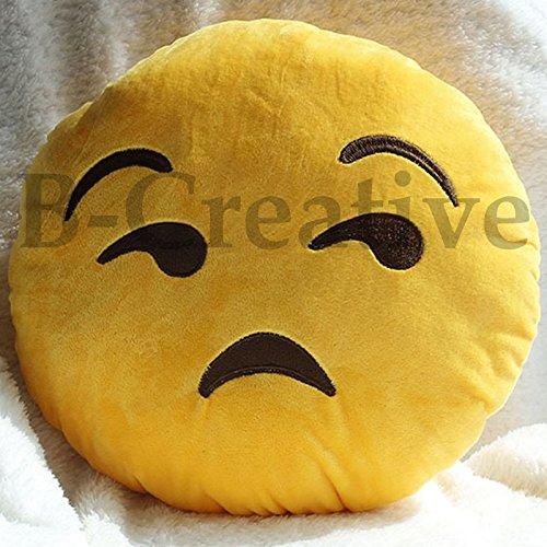 B-Creative Cojín redondo con emoticono de emoticono de 21 estilos de peluche suave de 12 pulgadas, regalo de peluche