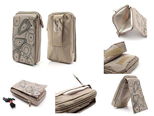 DFV mobile - Funda Multiusos Varios Compartimentos Cremallera Pasador Cinturon y mosqueton para Meizu MX5 - Color Beis