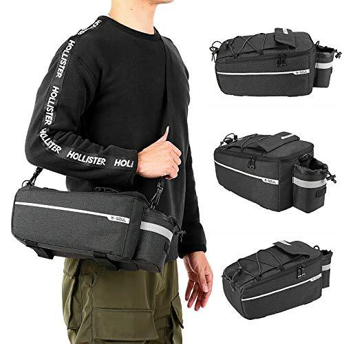 Whuooad - Borsa porta bici per portapacchi posteriore della bicicletta, con tracolla regolabile, strisce riflettenti e impermeabili