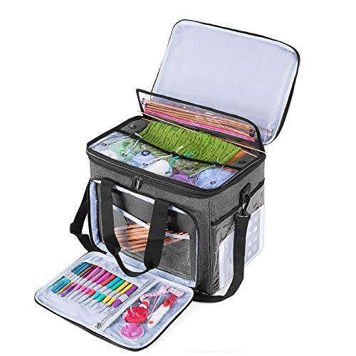 Teamoy Knitting Bag, Yarn Storage Tote Bag with Inner Divider for Yarn and Unfinished Project (Large with Cover, Gray)