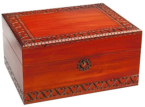 Enchanted World of Boxes Large Vintage Decorative Wooden Keepsake Box with Lock and Key – Also A Desk Jewelry Box That Makes A Fascinating Decoration – Great Gift for Adults, Teens, and Children