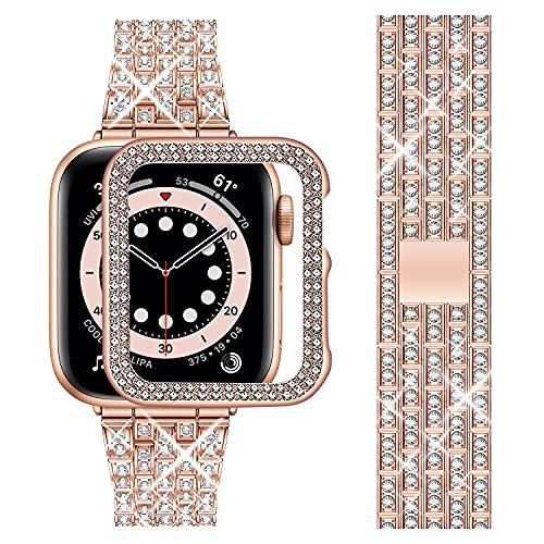 Wutwuk Correa Apple Watch Diamantes 42mm Correa Apple Watch Acero Inoxidable Bling Correa Apple Watch Mujeres Hombres Correa de Repuesto Apple Watch para Apple Watch SE 6 5 4 3 2 1 Oro Rosa