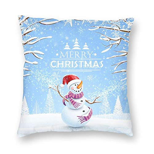 Decorative Cushion Covers with Christmas Shower Curtain, Cloth Fabric Bathroom Decor Set with Hooks, Winter Hat,,for Sofa Office Decor Cotton and Linen Cushion Covers 20*20Inch