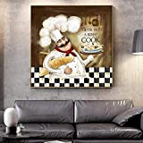 QZROOM Cocinero de Dibujos Animados Arte de la Pared Impresiones en Lienzo Pinturas de Cocina Modernas en los Carteles de Pared Cuadros Decorativos para la habitación de la cocina-60x60cm Sin Marco