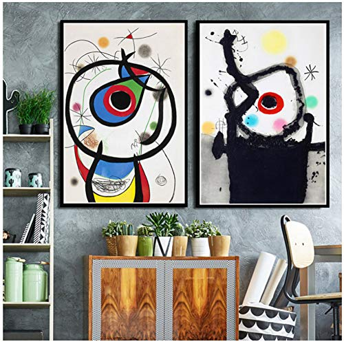Joan Miro Famosos cuadros abstractos modernos Retro Art Poster and Prints Wall Art Canvas Wall Pictures for Living Room Home Decor -50x70cm2 Sin marco