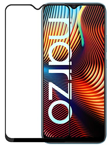 Efficia Full Protection Tempered Glass for Realme Narzo 20 Top Notch Edge to Edge Full Screen Coverage [Anti-Scratch] [Gorilla] [Free Cleaning Kit Included] - Black