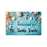 MyPupSocks Personalized Door Mats Outside Starfish and Seashell on Wooden Custom Door Mats Inside Text Name
